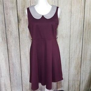 ModCloth Fervour Maroon & Grey Dress XL